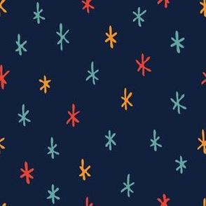 Navy Night Sky full of Stars // Scandi Woodland Adventure Cheater Quilt Coordinate // Animals + Landscape // Texture, Shapes, Geometric, Modern Quilt