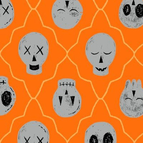 Sketchy Embroidery Halloween Gallery of Skulls // Scary Halloween Fun Textured Design with Geometric Lattice Frame