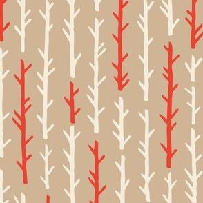 Birch Bark Trees Cream and Red Trunks // Scandi Woodland Adventure Cheater Quilt Coordinate // Animals + Landscape // Texture, Shapes, Geometric, Modern Quilt
