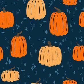 Sketchy Embroidery Fall Harvest or Halloween Pumpkins on Navy // Seasonal Autumn Textured Design
