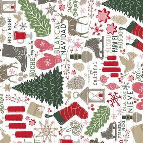 Smaller Scale Cozy Spanish Christmas Traditions // Feliz Navidad // Bi-lingual Christmas Trees, Carols, Greetings, Mulled Wine, Mittens, Bells, Gingerbread, Gifts, Jingle Bells, Ice Skates // Alegria para el mundo, Arbol de Navidad, Noche Silenciosa, Blan