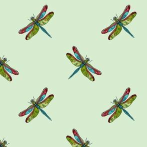 diagonal dragonfly on celadon green