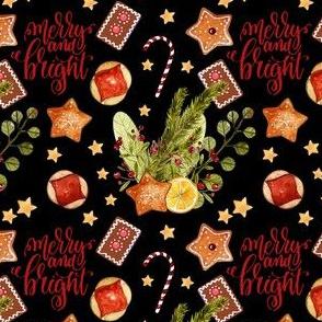 1283 Watercolor Christmas Pattern 2018 - neutrals 02 black