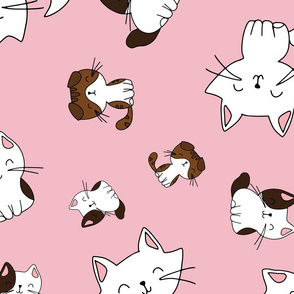 Pink background hand drawn kittens