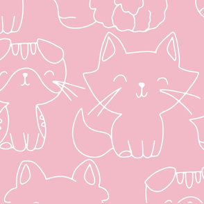 Pink background white hand drawn kitten outlines