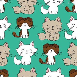 teal background hand drawn cats