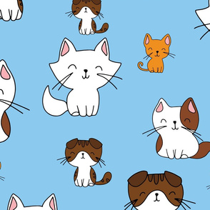 Cute hand drawn cats on blue background