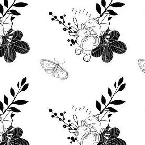1291 Woodland Friends Ink - Sleeping MIce 2 white