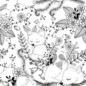 1298 Woodland Friends  Ink - Fawnie Fox and Friends white