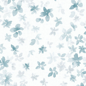 Into the blue - LARGE - Light gray blue watercolor floral
