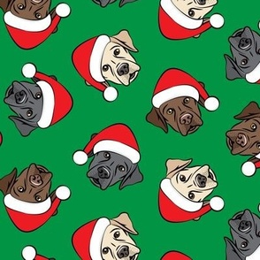 Christmas Labs - All the labs - Labrador Retriever with Santa hats - green -  LAD19