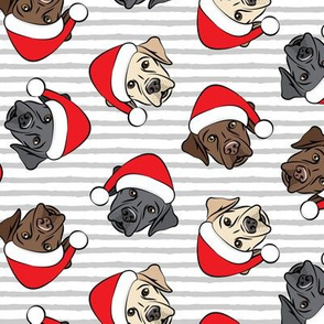 Christmas Labs - All the labs - Labrador Retriever with Santa hats - grey stripes -  LAD19