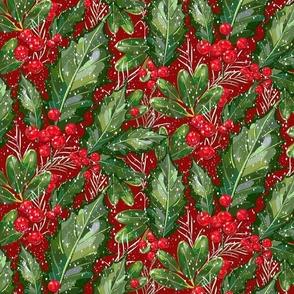 Christmas Snow Holly | Deep Red