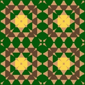 granny square green yellow brown and beige