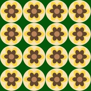 retro flowers yellow green beige brown