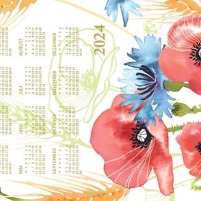 German 2022 Calendar, Monday / Summer Poppy Meadow
