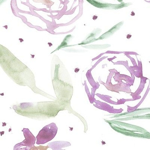 Spring in California • saturated purple • watercolor flowers for home decor, bedding