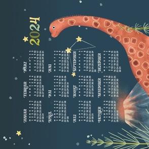 German 2022 Calendar, Monday / Cosmic Brachiosaurus