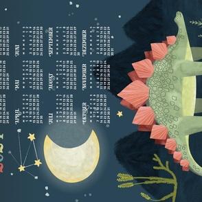 German 2021 Calendar, Monday / Cosmic Stegosaur