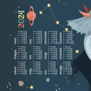 German 2021 Calendar, Monday / Cosmic Triceratops