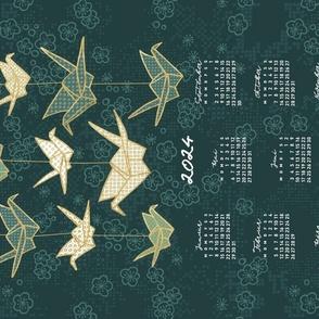 German 2022 Calendar, Monday / Origami Green