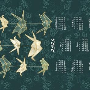 2022 Calendar, Sunday / Origami Green