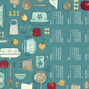 German 2021 Calendar, Monday / Vintage Kitchen