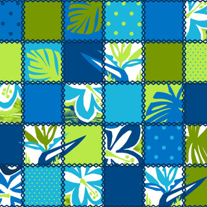 Cheater Quilt Hawaiian Floral and Dot Patchwork