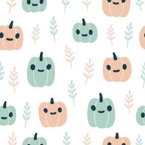 Blue and pink Halloween pumpkins