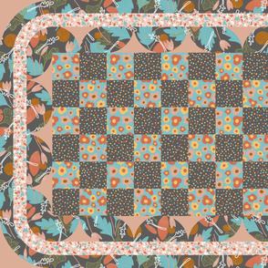 Abstract Floral Quilt Dark