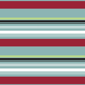 Bold Stripe Red Gray and Green