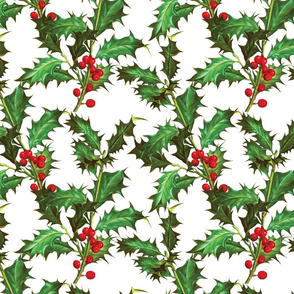 Christmas Holly Plant Fabric Pattern