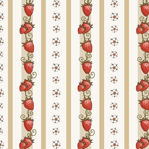 Strawberry Stripes in Antiqued ivory