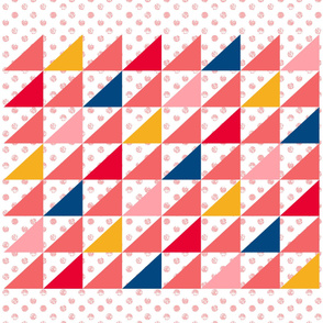 Pink Dot Triangles cheater quilt