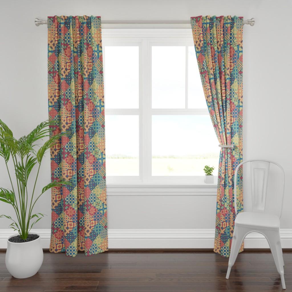 Plymouth Curtain Panel featuring Leiden diamonds mosaic cheater quilt fabric by danadu