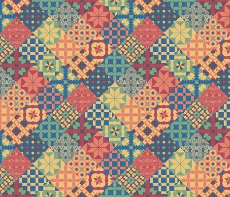 Cheater quilt fabric colorful Leiden diamonds mosaic retro 70s Wallpaper