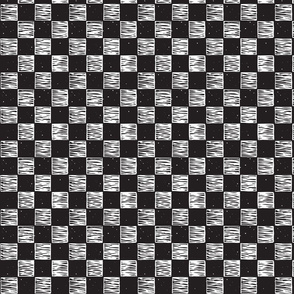 Rustic Checkerboard Small, Rotated - B&W