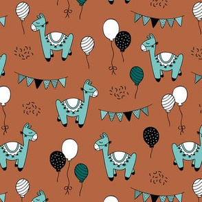 Birthday party piñata llama balloons and confetti  garlands kids neutral blue rust