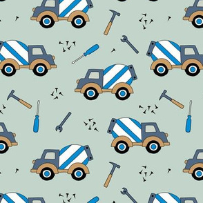 Construction and builders cement truck nails and hammer blue boys