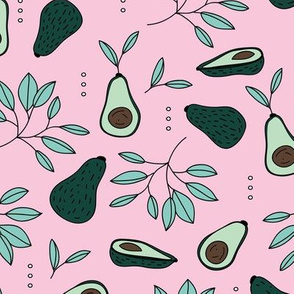 Avocado summer garden leaves and farmer's market design pink green