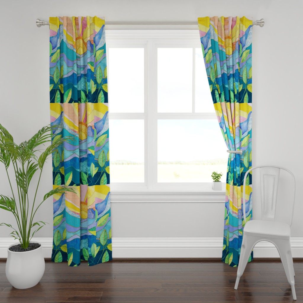 Plymouth Curtain Panel featuring Sunset Through The Leaves - Cheater Quilt by micklyn