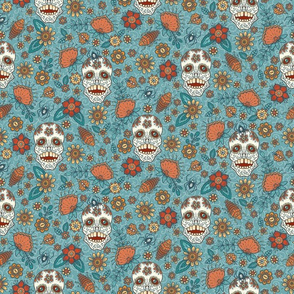 Small Sugar Skull Floral with cockroaches