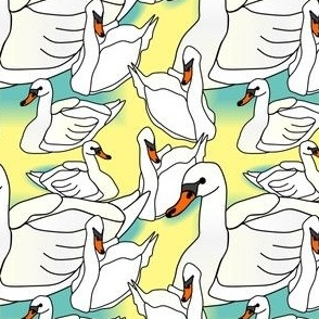 Baby Swans Babies Fabric
