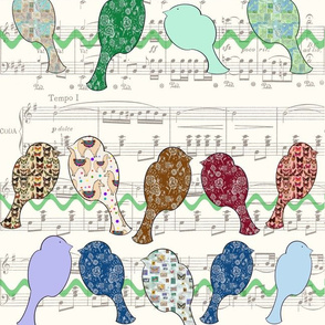 Music pattern with birds