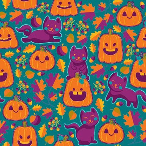 Cats and pumpkins embroidery - XL