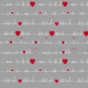 grey zipper open heart EKG