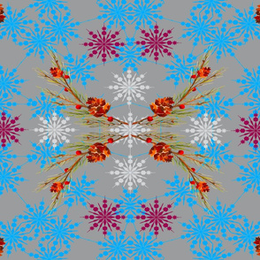 Winter Pinecones with Snowflake Flowers