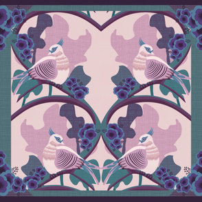Art Deco Australian Crested Pigeons cheater quilt