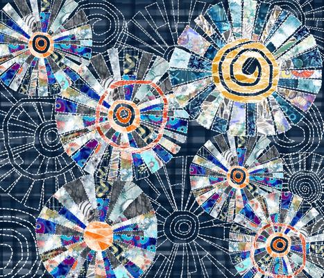 Modern patchwork cheater quilt with Dresden plate block