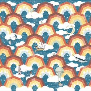 1 Yard Whole Cloth Quilt Rainbow Adventure Dreamland Cheater quilt Nursery  Moon and Stars kids baby Clouds Narwal Gender Neutral baby boy Whimsical